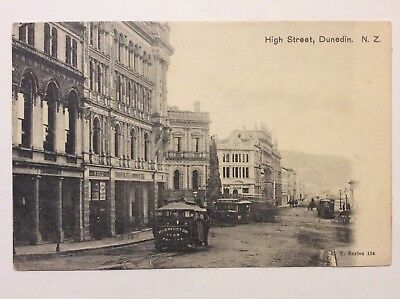vintage postcard, Dunedin, High Street, tram, F.T series, New Zealand, early