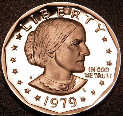 1979 S Type 2 Susan B Anthony Dollar Deep Cameo Gem Proof Clear S US Coin