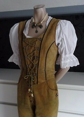 German Bavarian Ladies Trachten Leather Bodice + Blouse 6