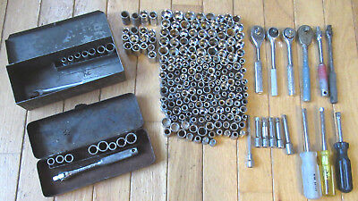 "Large Lot of 1/4"" Drive Sockets, Ratchets, Extensions and More"