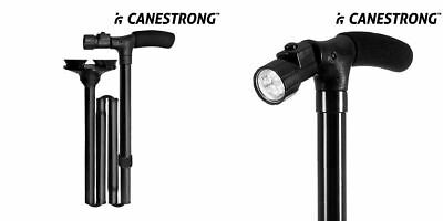 CANESTRONG FALTBARER LED Stock Gehstock Spazierstock Gehhilfe mit Doppelgriff