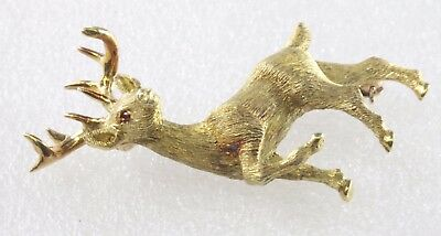 10 Point Deer Buck Large Brooch Pin 18K Yellow Gold  13.2 Grams WHOLESALE