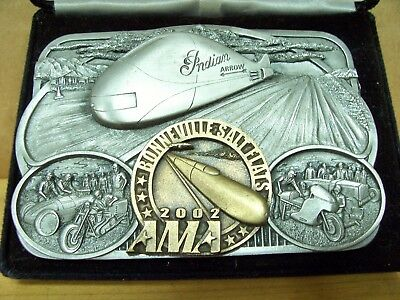 Vintage AMA Bonneville Salt Flats Pewter Belt Buckle Harley Indian Motorcycle