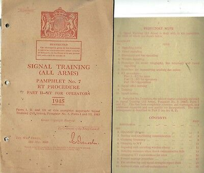 SIGNAL TRAINING PAMPHLET No 7 - R.T. PROCEDURE 1945 - WW2