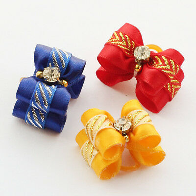 10Pcs Pet Puppy Hair Bows Rubber Bands Small Dogs Cat Bowkont Topknot Grooming