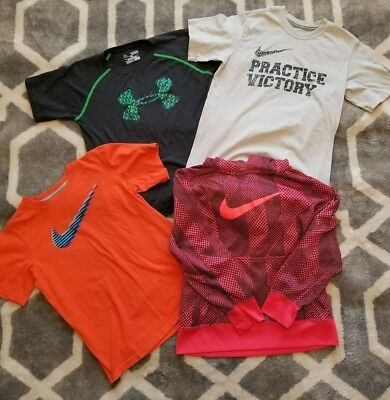 boys youth medium nike and under armour lot of shirts and hoodie bundle sports