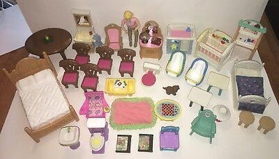 Fisher Price Loving Family DOLLHOUSE 34 Piece Furniture Accessory Lot