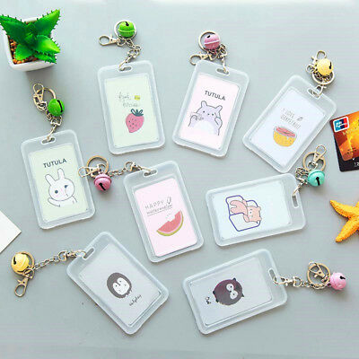 Acrylic Transparent Cartoon ID Card Holder Case Badge With Keyring Chain & Bell