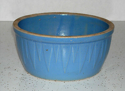 """Early Blue """"ICICLES"""" Bowl Stamped Ruckels Pottery White Hall Illinois Stoneware"""