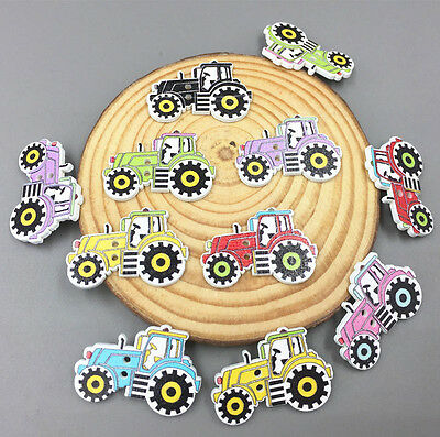 20pcs Cartoon car Wooden Sewing Buttons Mixed-color decoration scrapbooking 32mm