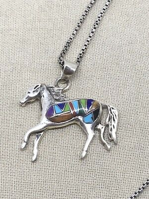 "15"" Sterling Silver Necklace Zuni Multi Stone Horse Pendant 24-27"