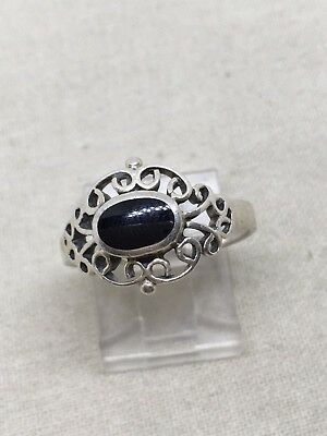Size 8 Sterling Silver Onyx Ring 23-4