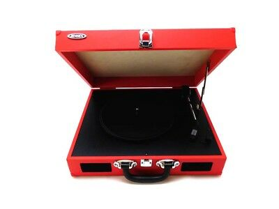 Jensen JTA 410 R Portable 3 Speed Stereo Turntable With Built In