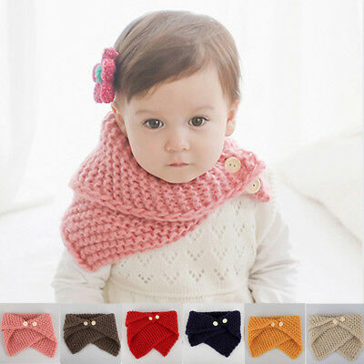 Kids Infinity Scarf  Baby Warm Knitted Loop Scarves w Button Toddler Fall Outfit
