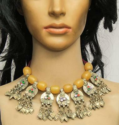 Tribal Banjara Kuchi Coins Rare Glass Beads Belly Dance Vintage Gypsy Necklace
