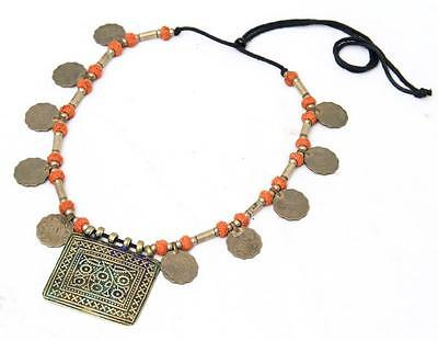 Tribal Banjara Boho Kuchi Coins Rare Belly Dance Vintage Gypsy Necklace