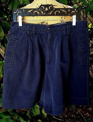 Vintage 80's Size 16 Princeton Club Navy Blue Cotton Pleated Walking Shorts
