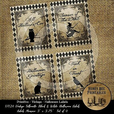 Prim Grungy Vintage Halloween Silhouette Black White Labels Owl Crow Witch 17124