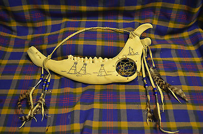 Native American Jawbone Dreamcatcher with 7 Feathers attached by Leather & Artwo