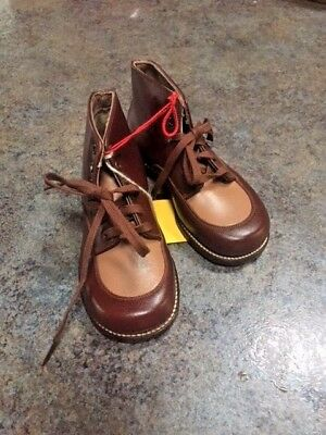 Vintage Baby Shoes   Pair Leather Original  Red Goose  New Old Stock