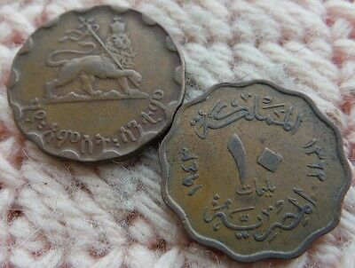 Egypt 10 Milliemes 1943, Ethiopia 25 Cents 1936 Lot of 2