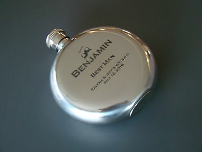 Custom Printed Black Etch 5oz. Stainless Steel Round Modern Wedding Party Flask