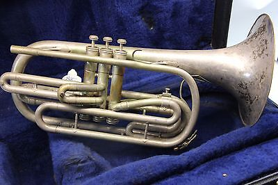 KING 1130 SILVER Marching Trombone Flugabone  with Case and Mouthpiece FAST SHIP