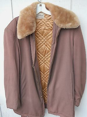 Vintage 50's Gabardine Brown Check Mutton Collar Zipper Winter Coat Size Med(4