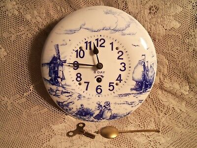 Vintage Porcelain Blue & White 8 Day Wall Clock-Germany-Works
