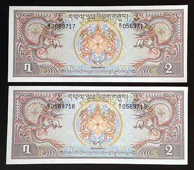Bhutan, 2 Ngultrum, 1981, P6, Lot of 2 consec. notes in UNC