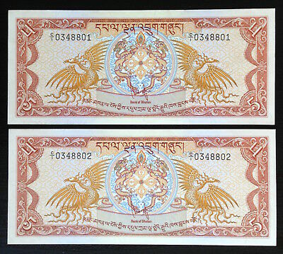Bhutan, 5 Ngultrum, 1981, P7, Lot of 2 consec. notes in CH UNC