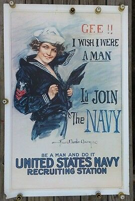 """Vintage 1974 NAVY RECRUITING POSTER """"Gee.I Wish I Were A Man"""" RAD 73714"""