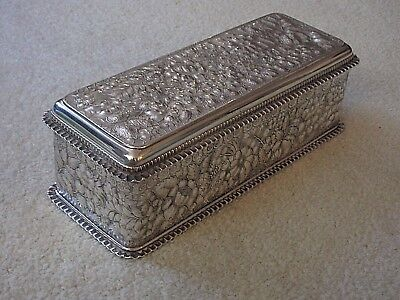 "VINTAGE  SILVER BOX  VELVET LINING, WITH MARKS  ~ 11"" x 4"" x 4"""