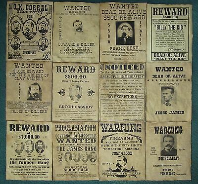Wyatt Earp Jesse James Old West Wanted Posters Doc Holliday O.K. Corral Lot /12
