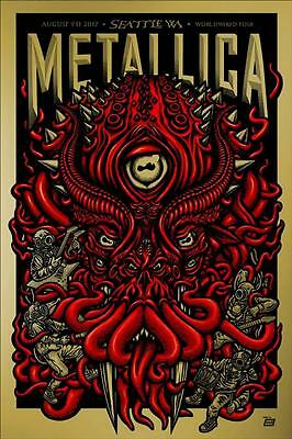 Metallica Concert Poster 8/9/17 Seattle WA Cthulhu Gold Variant AP Print Signed