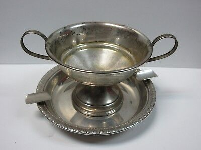 """ANTIQUE MID 20s """"LRS STERLING"""" SILVER FOOTED CANDY SUGAR BOWL & ASHTRAY """"2882"""""""