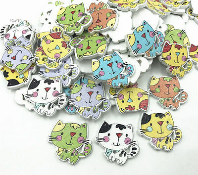 25X Wooden Cartoon cat buttons sewing scrapbooking crafts accessories 24mm