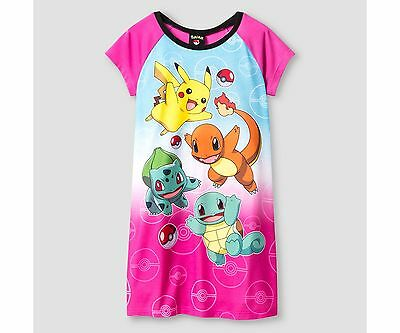 New Girls' Pokemon Short Sleeve Nightgown Pink Size 8