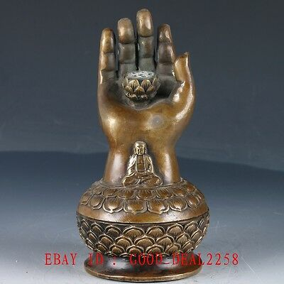 Old Copper Hand Made  Lotus & Buddha's Hand Incense Burner With QIanlong Mark