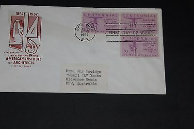 Usa 1957 Illustrated Institute Of Architects Issues First Day Cover To Aust