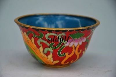 Chinese Cloisonne Hand-Painted Flower & Butterfly Bowl