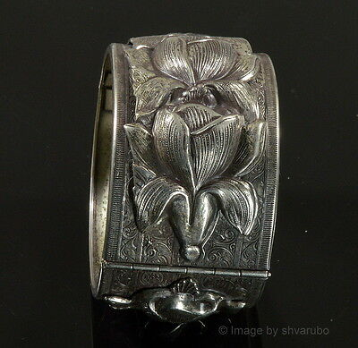 Antique Victorian Engraved And Chased Dimensional Hinged Cuff Bracelet