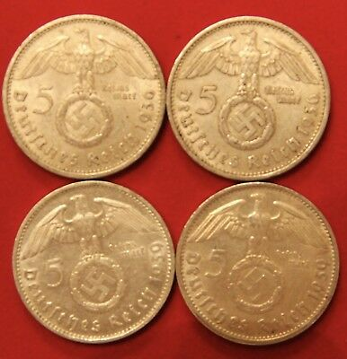 Four (4) Third Reich Nazi 5 Reichsmark Silver Coins  1936-A & 1939-D Circulated