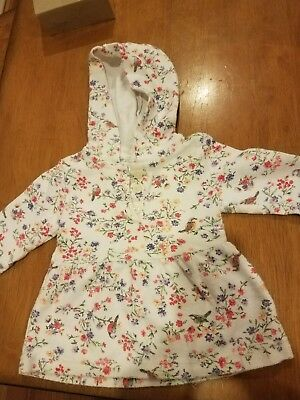 Girls Carters 18 months hooded sweater jacket white w/bird floral pattern EUC