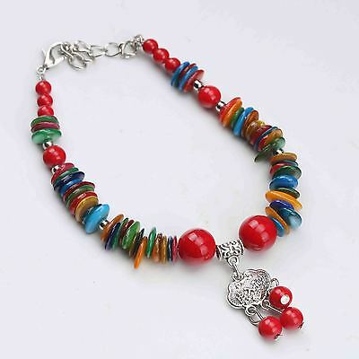 Chinese Natural Red Agate & Tibet Silver Handwork Bracelet G579