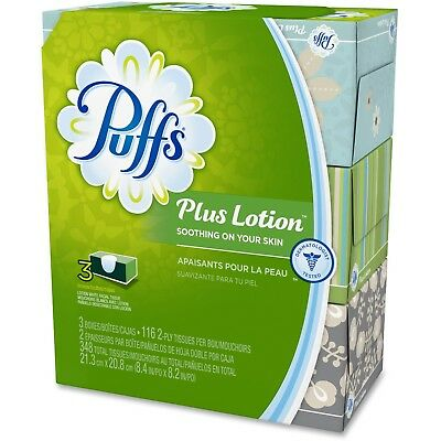 Puffs Plus Lotion Facial Tissue, White, 2-Ply, 116 Sheets per Box, 3 pack