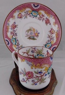 Sarreguemines MINTON Pink Demitasse Hand Painted Tea Cup and Saucer
