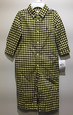 NWT Ralph Lauren Baby Boy 9month Fall I Yellow Checked Lined One-Piece