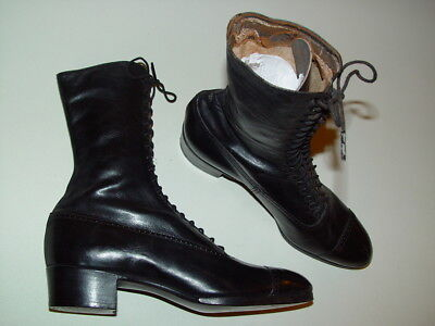 Antique black Leather Lace Up Granny Ankle Boots Womens
