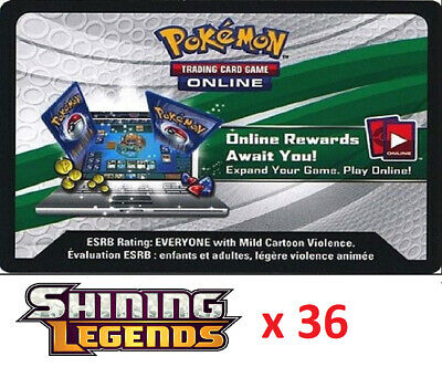 36 x Pokemon SM Shining Legends Code TCGO Cards TCG Codes SENT WITHIN 12 HOURS